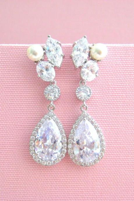 Crystal Bridal Earrings Wedding Teardrop Earrings Long Bridal Earrings Swarovski Pearl Earrings Bridesmaids Gift (E311)
