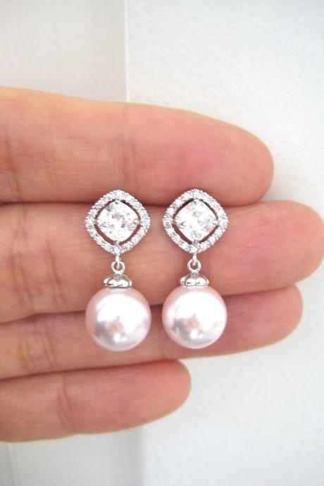 Bridal Pearl Earrings Wedding Pearl Jewelry Swarovski 10mm Round Pearl Cubic Zirconia Earrings Mother of the Bride Bridesmaid Gift (E152)