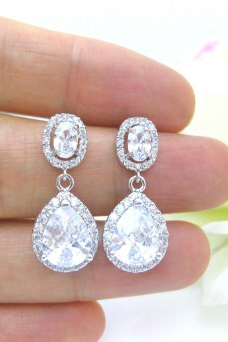 Bridal Crystal Earrings Wedding Jewelry Cubic Zirconia Teardrop Earrings Bridal Teardrop Earrings Bridesmaid Gift Sparky Earrings (E154)