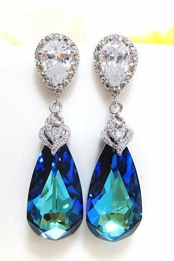 Blue Bridal Earring Swarovski Crystal Bermuda Blue Sea Green Teardrop Bride Earring Wedding Earring Peacock Earring Bridesmaid Gift(E002)